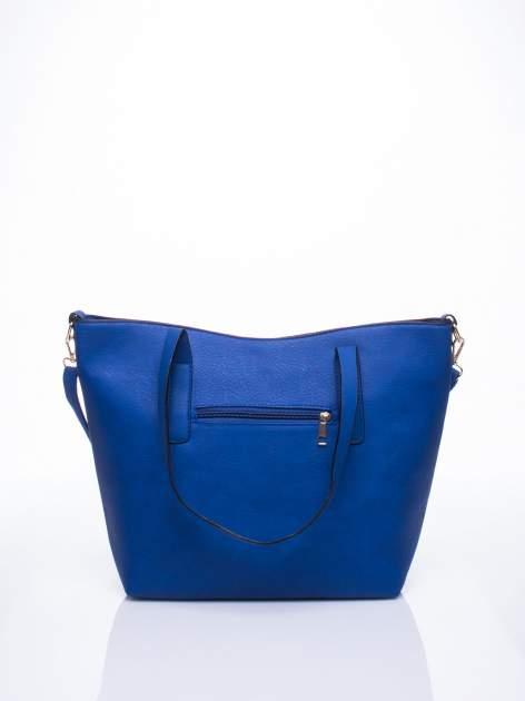Niebieska torba na ramię ze złotym emblematem                                  zdj.                                  3