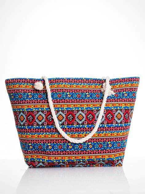 Niebieska torba plażowa w azteckie wzory                                  zdj.                                  1