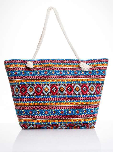 Niebieska torba plażowa w azteckie wzory                                  zdj.                                  5