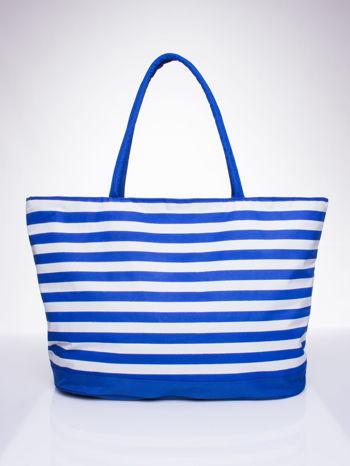 Niebieska torba plażowa w paski                                  zdj.                                  1