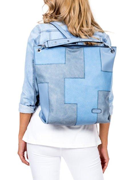 Niebieska torba-plecak z odpinanymi szelkami                              zdj.                              2