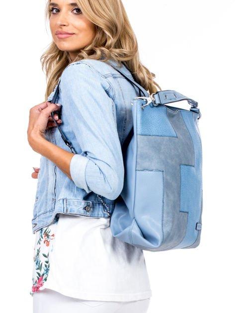 Niebieska torba-plecak z odpinanymi szelkami                              zdj.                              3