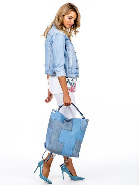 Niebieska torba-plecak z odpinanymi szelkami                              zdj.                              5
