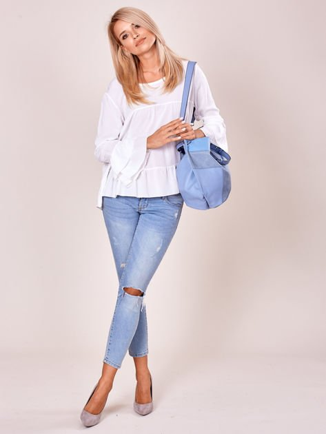 Niebieska torba shopper z geometrycznymi modułami                              zdj.                              4