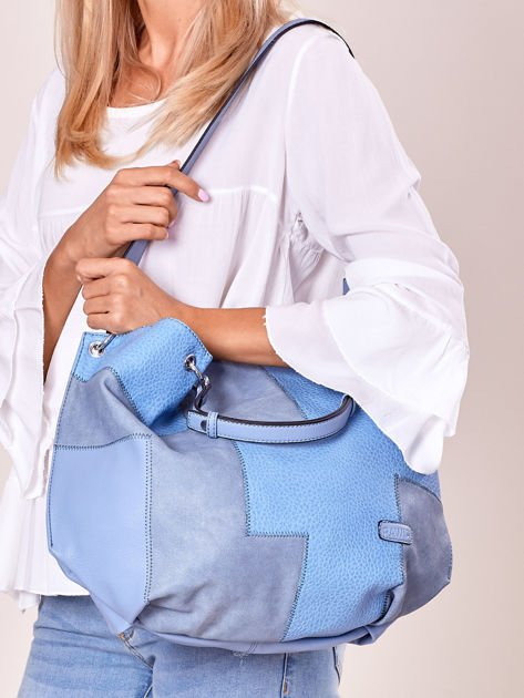 Niebieska torba shopper z geometrycznymi modułami                              zdj.                              5