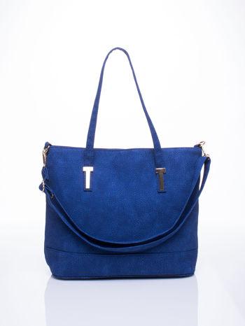 Niebieska torba shopperka z odczepianym paskiem