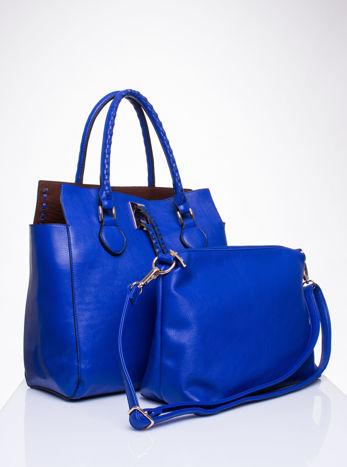 Niebieska torba z ozdobnymi skórzanymi troczkami                                  zdj.                                  4