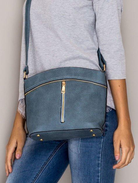 Niebieska torebka ze złotymi suwakami                                  zdj.                                  1