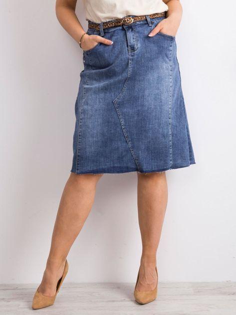 Niebieska trapezowa jeansowa spódnica PLUS SIZE                              zdj.                              1