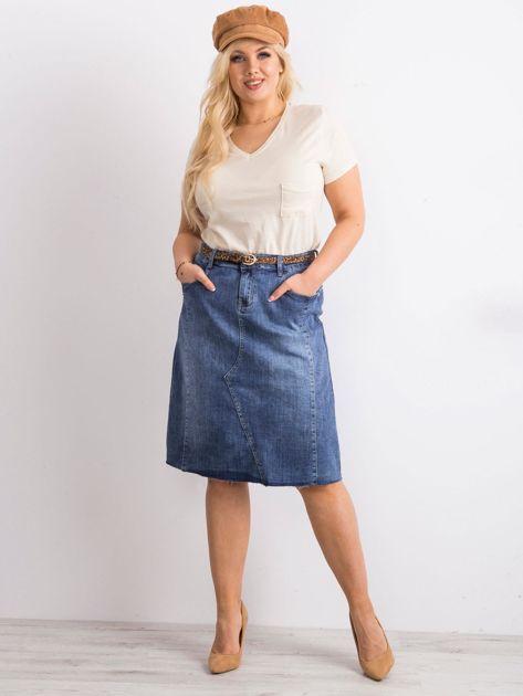Niebieska trapezowa jeansowa spódnica PLUS SIZE                              zdj.                              4