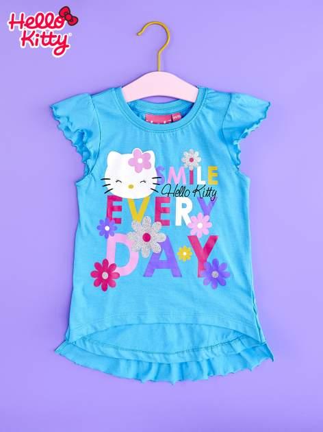 Niebieska tunika dla dziewczynki z falbankami HELLO KITTY                                   zdj.                                  1