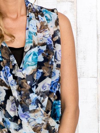 Niebieska warstwowa bluzka koszulowa w kwiaty                                  zdj.                                  5