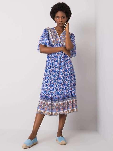 Niebieska wzorzysta sukienka Selkie