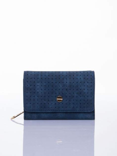 Niebieski ażurowany portfel ze złotym zapięciem                                  zdj.                                  1