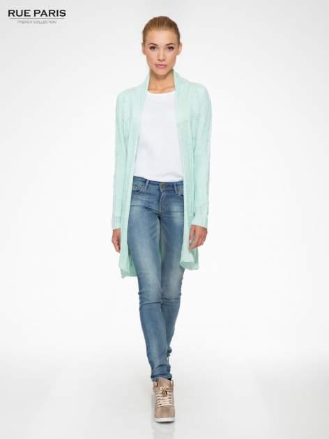 Niebieski ażurowy długi sweter typu kardigan z paskiem                                  zdj.                                  2