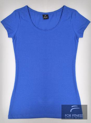 Niebieski basicowy t-shirt For Fitness                                  zdj.                                  2
