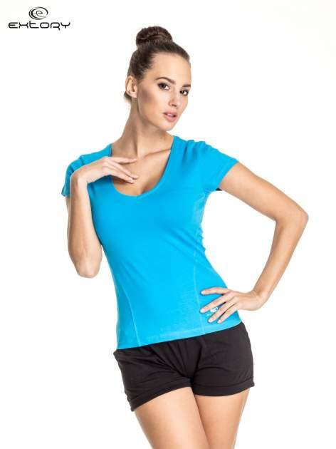 Niebieski damski t-shirt sportowy z dekoltem U                                  zdj.                                  1