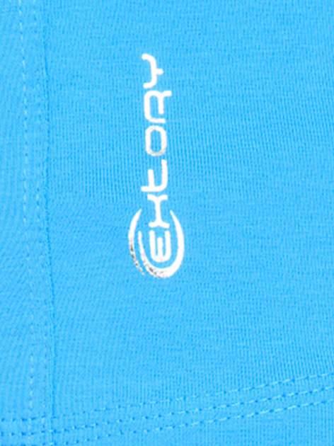 Niebieski damski top sportowy z wycięciem na plecach                                  zdj.                                  4