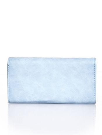 Niebieski fakturowany portfel ze stylizowanym zapięciem                                   zdj.                                  2