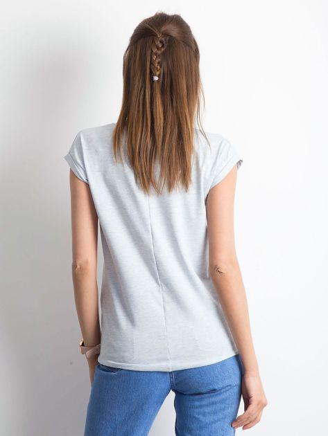 Niebieski melażowy t-shirt Vibes                              zdj.                              2