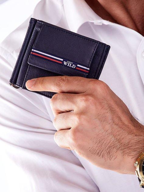 Niebieski męski portfel skórzany z zewnętrzną kieszenią                              zdj.                              1