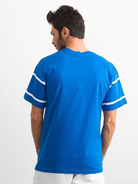 Niebieski męski t-shirt w paski                              zdj.                              2