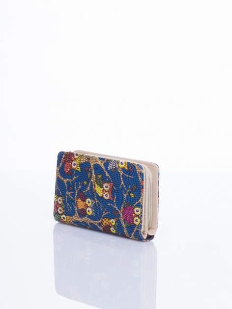 Niebieski mini portfel w sówki                                  zdj.                                  2