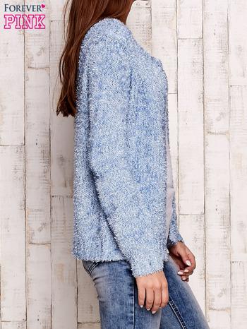 Niebieski otwarty włochaty sweter                                   zdj.                                  3