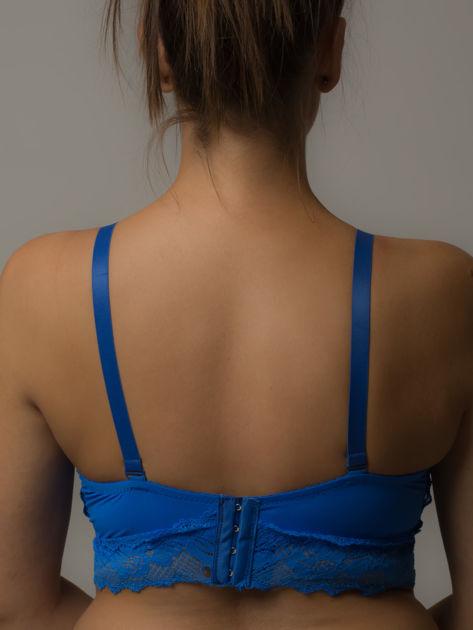 Niebieski ozdobny biustonosz z koronką                              zdj.                              2