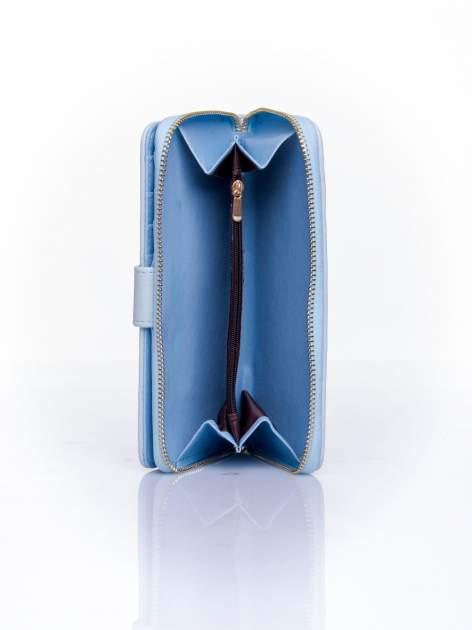Niebieski pikowany portfel ze złotym suwakiem                                  zdj.                                  4