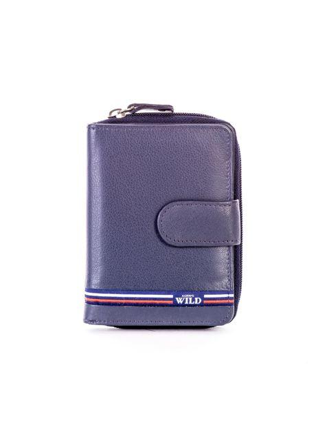 Niebieski portfel skórzany z klapką i zapięciem na suwak                              zdj.                              1