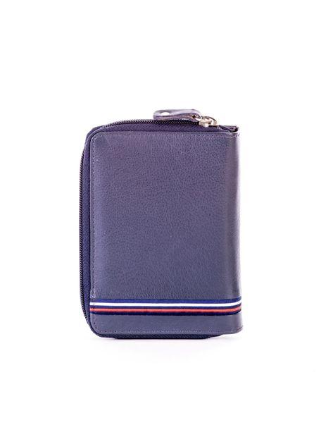 Niebieski portfel skórzany z klapką i zapięciem na suwak                              zdj.                              2