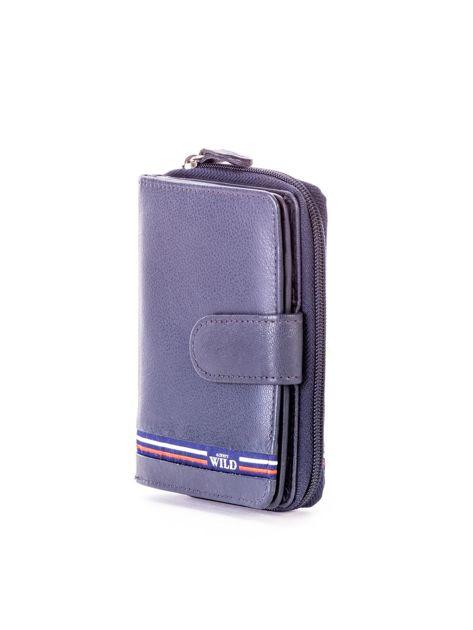 Niebieski portfel skórzany z klapką i zapięciem na suwak                              zdj.                              3