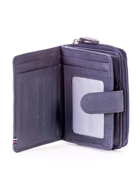 Niebieski portfel skórzany z klapką i zapięciem na suwak                              zdj.                              4