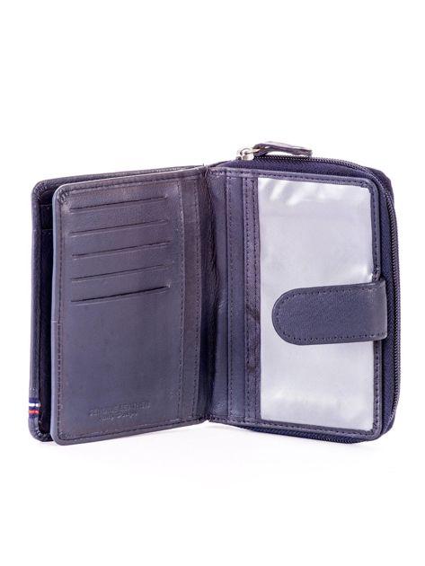 Niebieski portfel skórzany z klapką i zapięciem na suwak                              zdj.                              5
