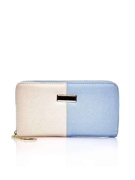 Niebieski portfel two tone z uchwytem