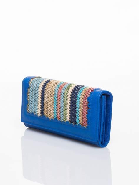 Niebieski portfel z ażurowaniem i plecionką                                  zdj.                                  3