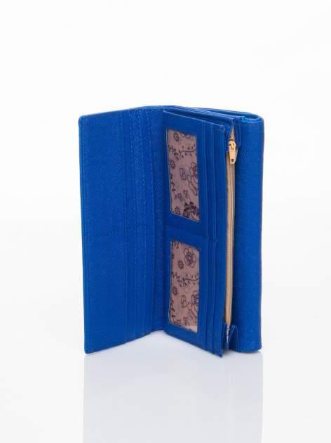 Niebieski portfel z ażurowaniem i plecionką                                  zdj.                                  5