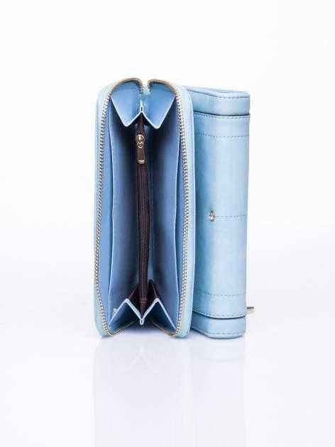 Niebieski portfel z dżetami i ozdobnym zapięciem                                  zdj.                                  5