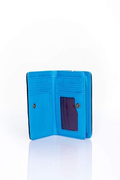 Niebieski portfel z motywem geometrycznej plecionki                                  zdj.                                  3