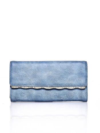 Niebieski portfel z ozdobną aplikacją                                  zdj.                                  1