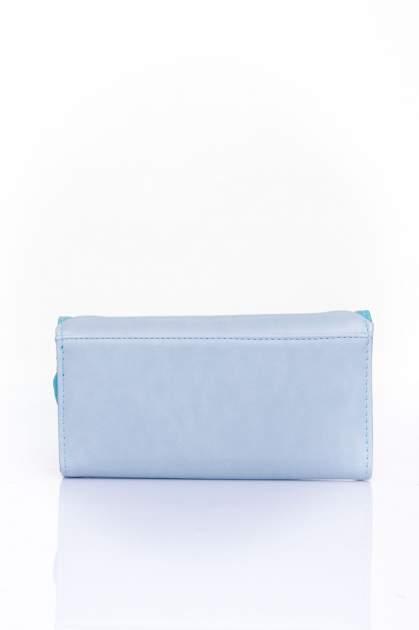 Niebieski portfel z ozdobnym detalem i złotymi okuciami                                  zdj.                                  2