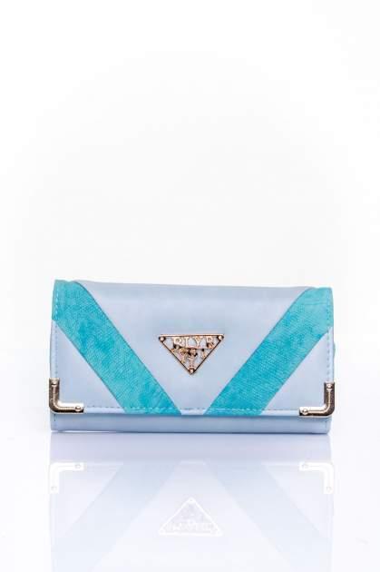 Niebieski portfel z ozdobnym detalem i złotymi okuciami                                  zdj.                                  1