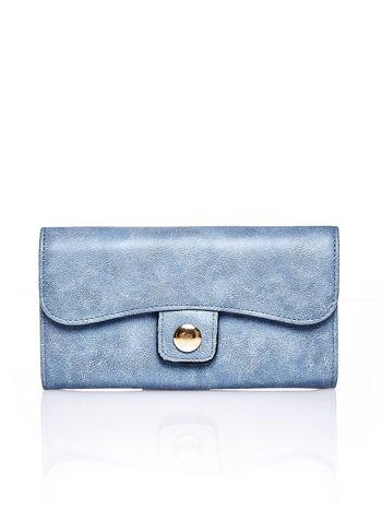 Niebieski portfel z zapięciem na magnes