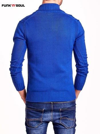 Niebieski sweter męski z kołnierzykiem FUNK N SOUL                                  zdj.                                  5
