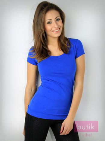 Niebieski t-shirt bawełniany For Fitness                                  zdj.                                  2