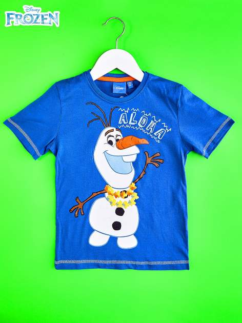 Niebieski t-shirt chłopięcy KRAINA LODU                                  zdj.                                  1