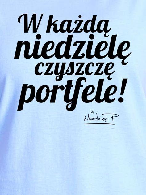 Niebieski t-shirt damski CZYSZCZĘ PORTFELE by Markus P                              zdj.                              2