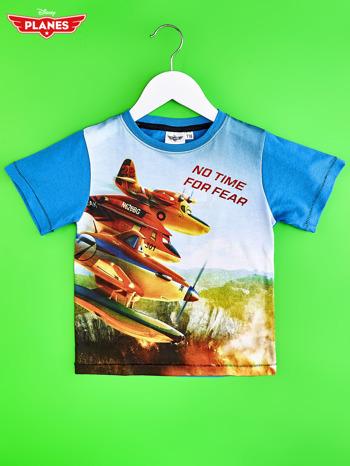 Niebieski t-shirt dziecięcy z nadrukiem SAMOLOTY                                  zdj.                                  1