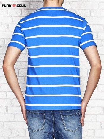 Niebieski t-shirt męski w paski FUNK N SOUL